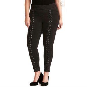 Torrid leather lace jegging grey wash skinny leg
